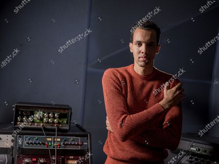 Stock Picture of Gael Faye in the recording studio