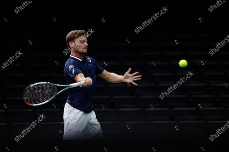 David Goffin of Belgium in action during his second round match against Norbert Gombos of Slovakia at the Rolex Paris Masters tennis tournament in Paris, France, 03 November 2020.