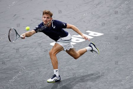 Stock Picture of David Goffin of Belgium in action during his second round match against Norbert Gombos of Slovakia at the Rolex Paris Masters tennis tournament in Paris, France, 03 November 2020.