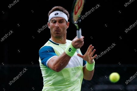 Stock Photo of Norbert Gombos of Slovakia in action during his second round match against David Goffin of Belgium at the Rolex Paris Masters tennis tournament in Paris, France, 03 November 2020.
