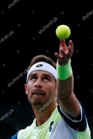 Norbert Gombos of Slovakia in action during his second round match against David Goffin of Belgium at the Rolex Paris Masters tennis tournament in Paris, France, 03 November 2020.