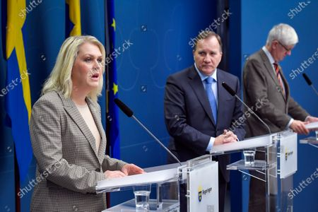 Swedish Minister for Health and Social Affairs Lena Hallengren (L-R), Prime Minister Stefan Lofven and the Director General of the Public Health Authority of Sweden Johan Carlson attend a joint news conference on the coronavirus  (Covid-19) pandemic situation at the government headquarters in Stockholm, Sweden, 03 November 2020.