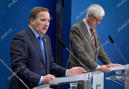 Swedish Prime Minister Stefan Lofven and the Director General of the Public Health Authority of Sweden Johan Carlson attend a joint news conference on the coronavirus  (Covid-19) pandemic situation at the government headquarters in Stockholm, Sweden, 03 November 2020.