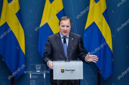 Sweden's Prime Minister Stefan Lofven speaks during a news conference on the coronavirus  (Covid-19) pandemic situation at the government headquarters in Stockholm, Sweden, 03 November 2020.