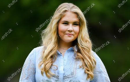 Netherlands' Princess Amalia poses in the garden of royal palace Huis ten Bosch in The Hague, Netherlands, during an official photo session at the start of the summer holiday. A man who sent death threats to the Dutch king's eldest daughter was sentenced Tuesday, Nov. 3, 2020 to three months imprisonment and ordered to undergo psychiatric treatment