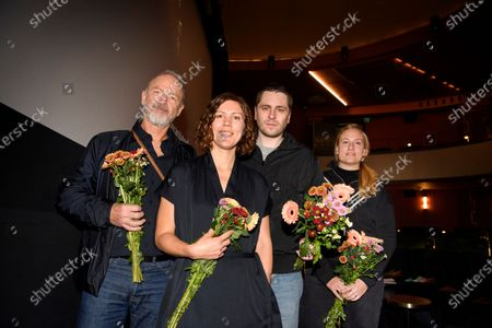 """Director Amanda Kernell and actor Sverrir Gudnason with the producers Lars G. Lindstrom (far left) and Eva Akergren (far right), after the announcement that their film """"Charter"""" has been chosen as the Swedish submission for the Academy Award for Best International Feature Film"""