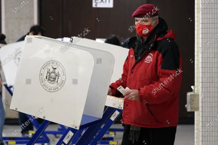 Guardian Angels founder Curtis Sliwa votes on Election Day at Frank McCourt High School, on New York's Upper West Side