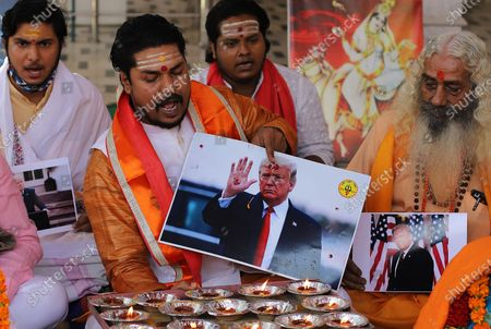 Editorial picture of Activists of Hindu Sena offer prayers for US president Donald Trump in New Delhi, India - 3 Nov 2020