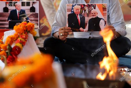 Editorial image of Activists of Hindu Sena offer prayers for US president Donald Trump in New Delhi, India - 3 Nov 2020