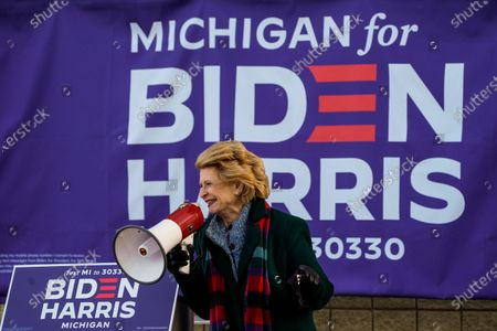 Senator Debbie Stabenow speaks during canvas launch event at the parking lot of the 14th District Democratic Party Headquarters on Monday, Nov. 2, 2020 in Detroit, MI. With only a day remaining before the U.S. election and an unprecedented early voting turnout, President Donald Trump and Democratic nominee former Vice-President Joe Biden are campaigning in crucial swing states. (Kent Nishimura / Los Angeles Times)
