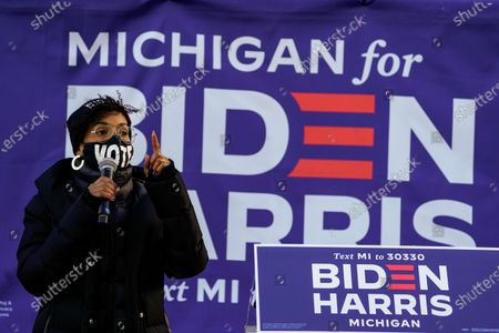 Stock Photo of Actress Kerry Washington addresses the audience during canvas launch event at the parking lot of the 14th District Democratic Party Headquarters on Monday, Nov. 2, 2020 in Detroit, MI. With only a day remaining before the U.S. election and an unprecedented early voting turnout, President Donald Trump and Democratic nominee former Vice-President Joe Biden are campaigning in crucial swing states. (Kent Nishimura / Los Angeles Times)