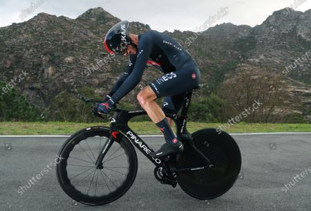 British rider Chris Froome of INEOS Grenadiers team in action during the 13th stage of the Vuelta a Espana 2020 cycling race, an individual time trial over 33.7km between Muro and Mirador de Ezaro, near A Coruna, northern Spain, 03 November 2020.