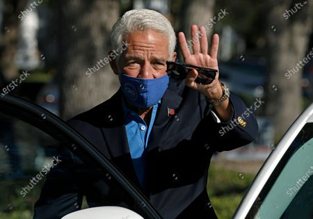 Stock Image of U.S. Representative Charlie Crist  from Florida's 13th congressional waves to supporters at the St. Petersburg Coliseum in St. Petersburg, Florida, USA, 03 November 2020. Americans vote on Election Day to choose between re-electing Donald J. Trump or electing Joe Biden as the 46th President of the United States to serve from 2021 through 2024.