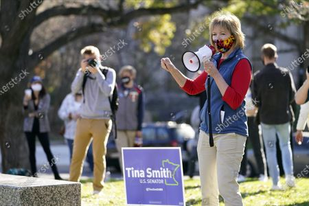 Sen. Tina Smith, D-Minn., addresses students at the University of Minnesota on Election Day, in Minneapolis.Smith faces Republican Jason Lewis in the Senate race in Minnesota