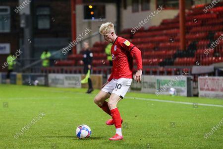 Crewe Alexandra midfielder Charlie Kirk (10) passes the ball during the EFL Sky Bet League 1 match between Crewe Alexandra and Gillingham at Alexandra Stadium, Crewe