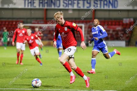 Crewe Alexandra midfielder Charlie Kirk (10) runs forward with the ball during the EFL Sky Bet League 1 match between Crewe Alexandra and Gillingham at Alexandra Stadium, Crewe
