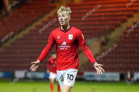 Stock Photo of Crewe Alexandra midfielder Charlie Kirk (10) holds his hands out during during the EFL Sky Bet League 1 match between Crewe Alexandra and Gillingham at Alexandra Stadium, Crewe