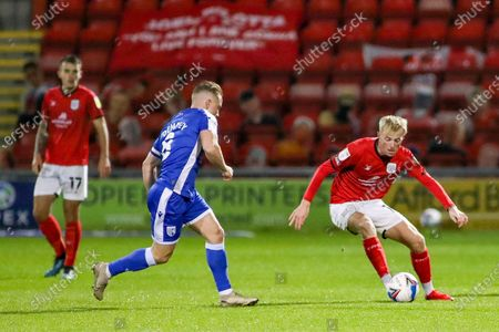 Crewe Alexandra midfielder Charlie Kirk (10) controls the ball during the EFL Sky Bet League 1 match between Crewe Alexandra and Gillingham at Alexandra Stadium, Crewe
