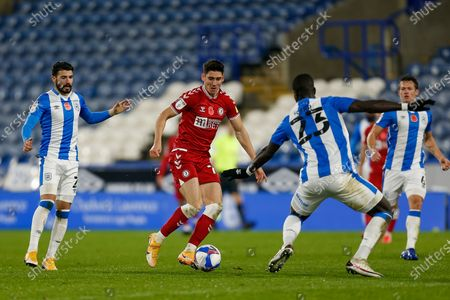 Bristol City FC Midfielder Liam Walsh (8) on the attack during the EFL Sky Bet Championship match between Huddersfield Town and Bristol City at the John Smiths Stadium, Huddersfield