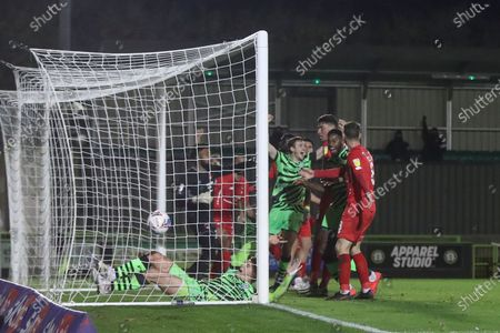 GOAL Forest Green Rovers Matt Stevens(9) shoots at goal scores a goal 2-1 during the EFL Sky Bet League 2 match between Forest Green Rovers and Leyton Orient at the New Lawn, Forest Green