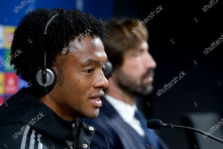 Juan Cuadrado of Juventus attends a press conference one day prior to the UEFA Champions League group stage soccer match Ferencvaros vs Juventus in the Puskas Ferenc Arena in Budapest, Hungary, 03 November 2020.