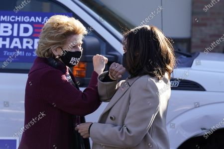 Stock Photo of Sen. Debbie Stabenow, D-Mich., greets Democratic vice presidential candidate Sen. Kamala Harris, D-Calif., at a campaign event, in Southfield, Mich