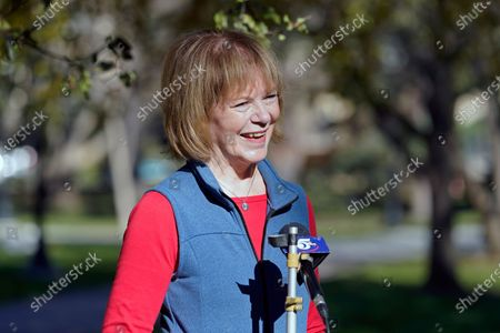 Stock Picture of Sen.Tina Smith, D-Minn., is interviewed before addressing students at the University of Minnesota, Election Day, in Minneapolis. Smith faces Republican Jason Lewis in the Senate race in Minnesota