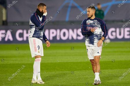 Eden Hazard and Karim Benzema of Real Madrid