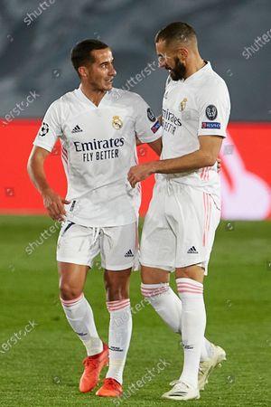 Lucas Vazquez and Karim Benzema of Real Madrid