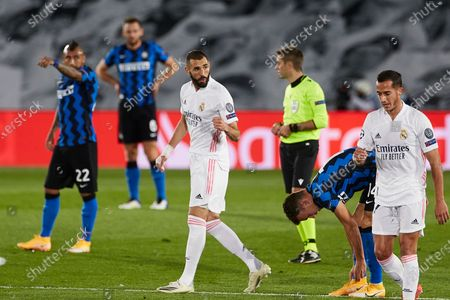 Karim Benzema of Real Madrid after scoring the 1-0