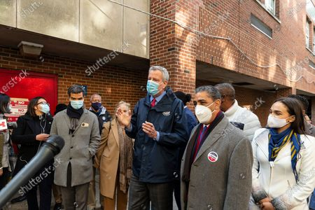 Mayor Bill de Blasio visits poll site on general election day at Public School 173 on Fort Washington Avenue. Mayor greeted voters and volunteers on the site and addressed media. Mayor also delivered donuts for volunteers and poll workers. Along with mayor from left to right City council member Ydanis Rodriguez, Manhattan Borough President Gale Brewer, US Congressman Adriano Espaillat.