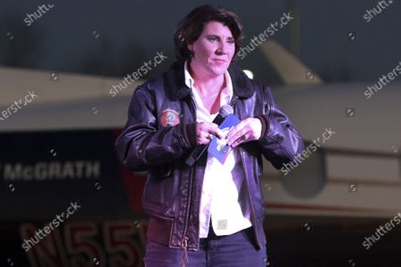 Stock Photo of Senate candidate Amy McGrath speaks to supporters at the Georgetown-Scott County Regional Airport, Georgetown, Ky