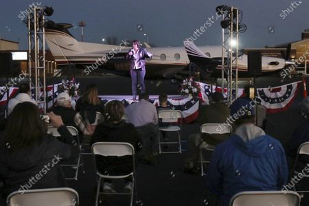 Stock Image of Senate candidate Amy McGrath speaks to supporters at the Georgetown-Scott County Regional Airport, Georgetown, Ky