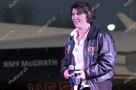 Stock Picture of Democratic U.S. Senate candidate Amy McGrath speaks to supporters at Georgetown-Scott County Regional Airport, Georgetown, Ky