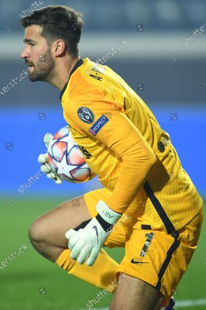 Stock Image of Alisson Ramses Becker (Liverpool FC)                                        during the Uefa Champions League match between Atalanta 0-5 Liverpool    at Gewiss  Stadium on November 3 , 2020 in Bergamo, Italy.