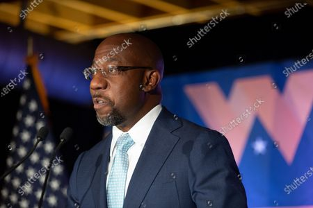 Democratic US Senate candidate Rev. Raphael Warnock speaks during an Election Night event in Atlanta, Georgia, USA, 03 November 2020. Democratic Senate candidate Rev. Raphael Warnock is running in a special election against a crowded field, including U.S. Sen. Kelly Loeffler (R-GA), who was appointed by Gov. Brian Kemp to replace Johnny Isakson at the end of last year. Georgia is the only state with two Senate seats on the 03 November ballot.
