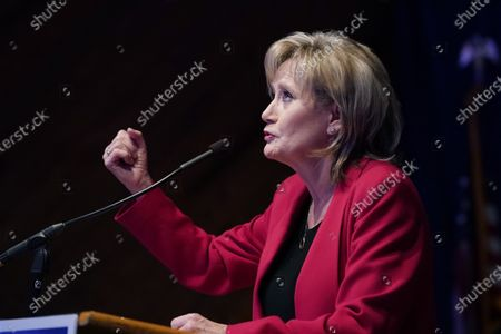 Sen. Cindy Hyde-Smith, R-Miss., looks upward as she speaks about her support for President Donald Trump being a key to her reelection race at a victory party in Jackson, Miss., . Hyde-Smith beat Democrat Mike Espy and Libertarian Jimmy Edwards