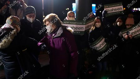 Stock Image of Incumbent U.S. Sen. Jeanne Shaheen, D-N.H., bumps elbows with supporters during a gathering with supporters, in Manchester, N.H. Shaheen faced Republican businessman Corky Messner