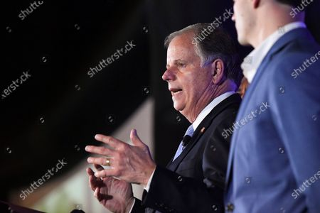 Stock Picture of Sen. Doug Jones delivers his concession speech during his election night watch party, in Birmingham, Ala. Jones lost his seat to Republican Tommy Tuberville