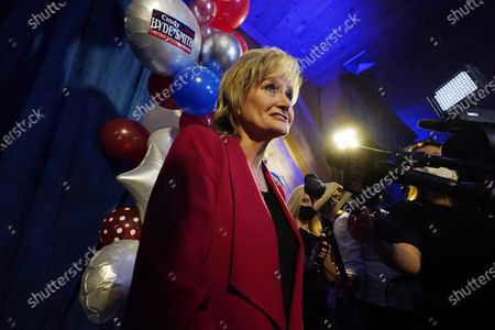 Sen. Cindy Hyde-Smith, R-Miss., speaks with reporters at her reelection victory party in Jackson, Miss., . Hyde-Smith beat Democrat Mike Espy and Libertarian Jimmy Edwards