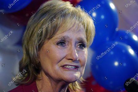 Stock Photo of Sen. Cindy Hyde-Smith, R-Miss., speaks with reporters at her reelection victory party in Jackson, Miss., . Hyde-Smith beat Democrat Mike Espy and Libertarian Jimmy Edwards