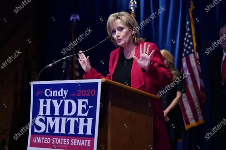 Sen. Cindy Hyde-Smith, R-Miss., thanks her volunteers and staff at her victory party in Jackson, Miss., . Hyde-Smith beat Democrat Mike Espy and Libertarian Jimmy Edwards