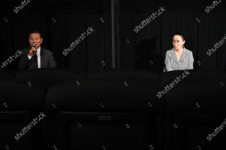 """Stock Picture of Jun Kunimura and Naomi Kawase - The 33rd Tokyo International Film Festival. Press conference for the movie """"Tracing Her Shadow"""" in Tokyo, Japan on November 1, 2020."""