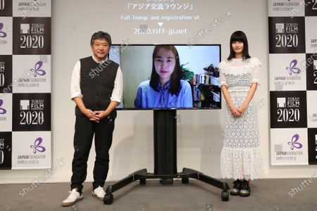 "Hirokazu Kore-eda, Kim Bora and Ai Hashimoto - The 33rd Tokyo International Film Festival. ""Asia Lounge"" Conversation Series Co-presented by The Japan Foundation Asia Center & Tokyo International Film Festival in Tokyo, Japan on November 1, 2020."