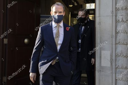 Foreign Secretary Dominic Raab departs television studios near Parliament after appearing on LBC radio.