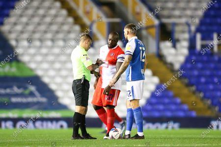 Adebayo Akinfenwa (20) of Wycombe Wanderers and Harlee Dean (12) of Birmingham City before kick off