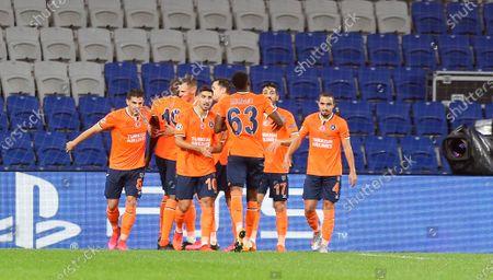 Istanbul Basaksehir celebrate Demba Ba of Istanbul Basaksehir's opening goal