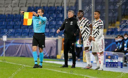 Ole Gunnar Solskjaer - Manager of Manchester United brings on Mason Greenwood of Manchester United & Timothy Fosu-Mensah