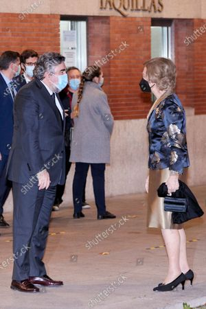 Former Queen Sofia and Minister of Culture and Sport Jose Manuel Rodriguez Uribes attends the extraordinary concert to benefit the Annual Scholarships for the Extension of Studies Abroad of Musical Youth of Madrid at the National Auditorium in Madrid