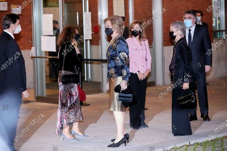 Former Queen Sofia, Minister of Culture and Sport Jose Manuel Rodriguez Uribes and Princess Irene of Greece attends the extraordinary concert to benefit the Annual Scholarships for the Extension of Studies Abroad of Musical Youth of Madrid at the National Auditorium in Madrid